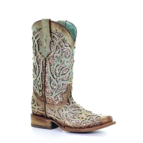 Women's Corral Mint Glitter Inlay & Studs Sq. Toe Western Boots C3402