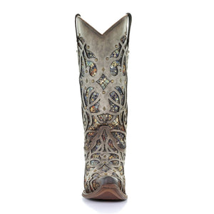 Women's Corral Taupe Inlay & Studs Western Boots C3409