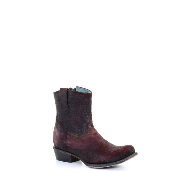 Women's Corral Wine Lamb Round Toe Ankle Boot Western Boots C3416
