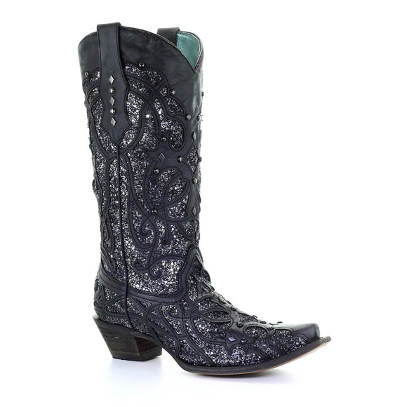 Women's Corral Black Glittered Inlay Western Boots C3423
