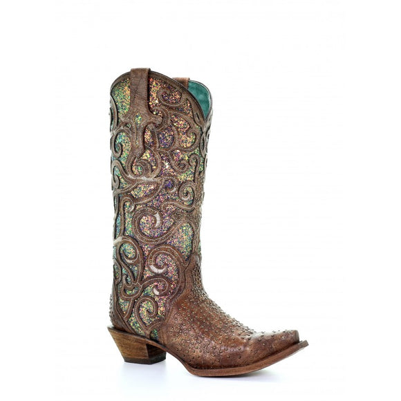 Women's Corral Cognac /Purple Glitter Inlay & Studs Western Boots
