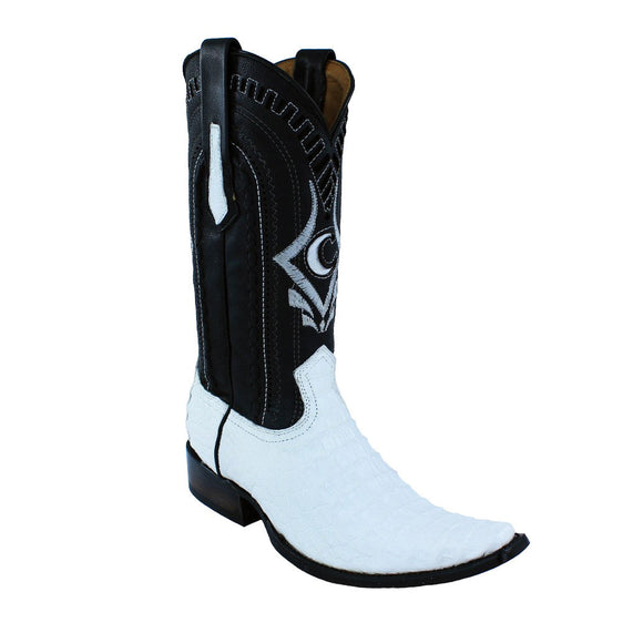 Cuadra Men's White Exotic Caiman Back European Toe Boots - RR Western Wear, Cuadra Men's White Exotic Caiman Back European Toe Boots