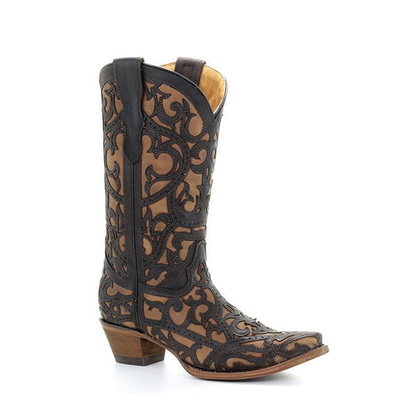 Teen's Corral  Brown Full Overlay Western Boots Panchita
