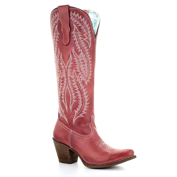 Women's Corral Red Embroidery Tall Top Western Boots Rioja