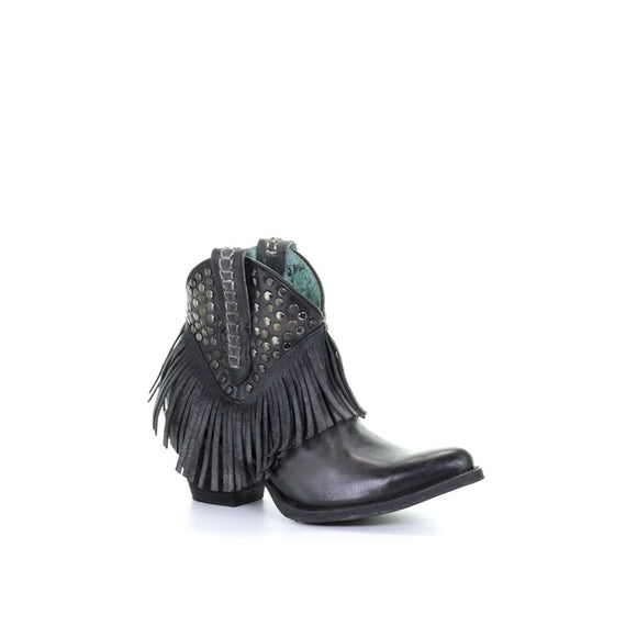 Women's Corral Black Studs & Fringe Ankle Boot Western Boots E1435