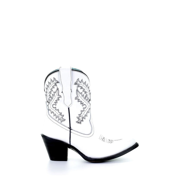 Women's Corral White Embroidery Bootie Western Boots E1436