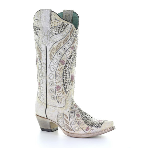 Women's Corral White Floral Embroidery & Crystals & Studs Western Boots