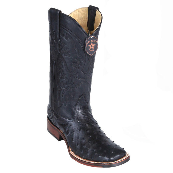 Wide-Square-Toe-Ostrich-Boot-H82-Black_1