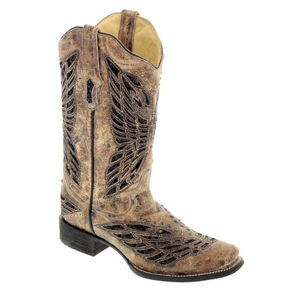 Corral Women's Sequin & Crystal Butterfly Square Toe Boots - RR Western Wear, Corral Women's Sequin & Crystal Butterfly Square Toe Boots