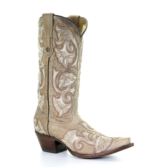 Women's Corral Bone Floral Full Stitch Western Boots Macarena