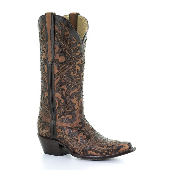 Women's Corral Brown Full Overlay & Studs Western Boots Panchita
