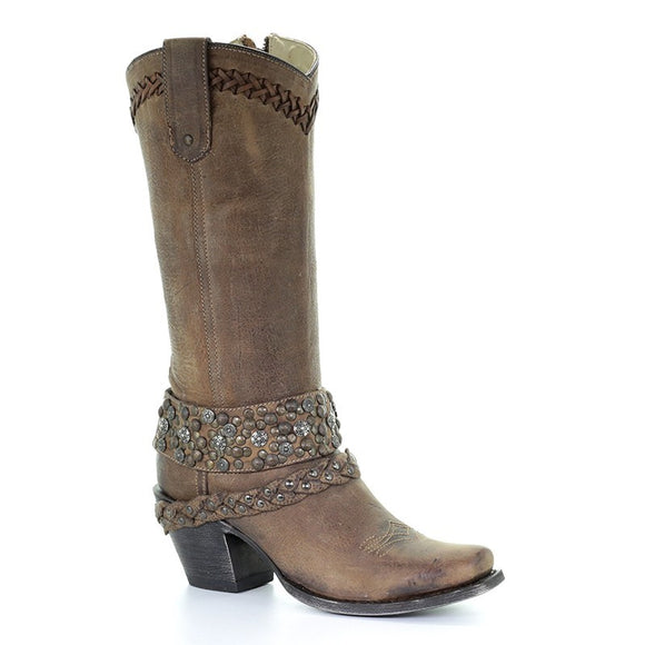 Women's Corral  Brown Woven & Studs & Harness Narrow Sq. Toe Western Boots
