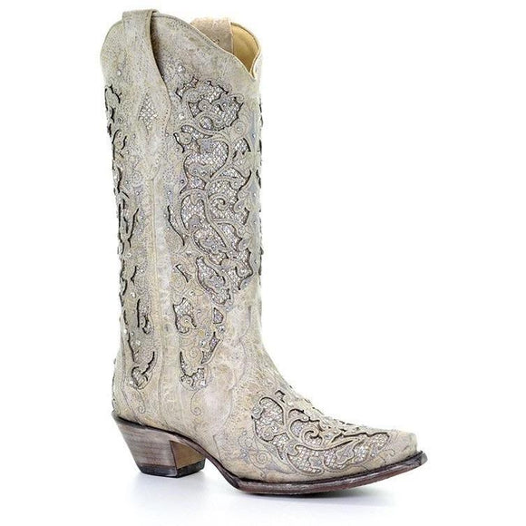 Women's Corral Western Wedding Boots Handcrafted - A3322