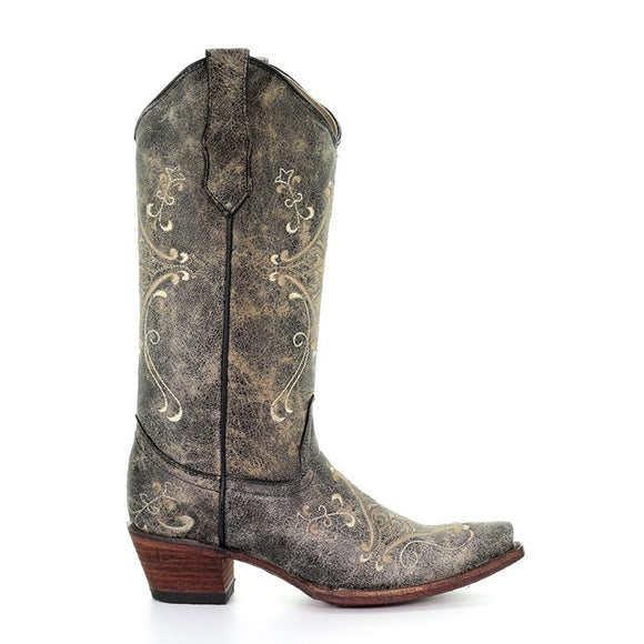 Women's Corral Black Crackle/Bone Embroidery Western Boots