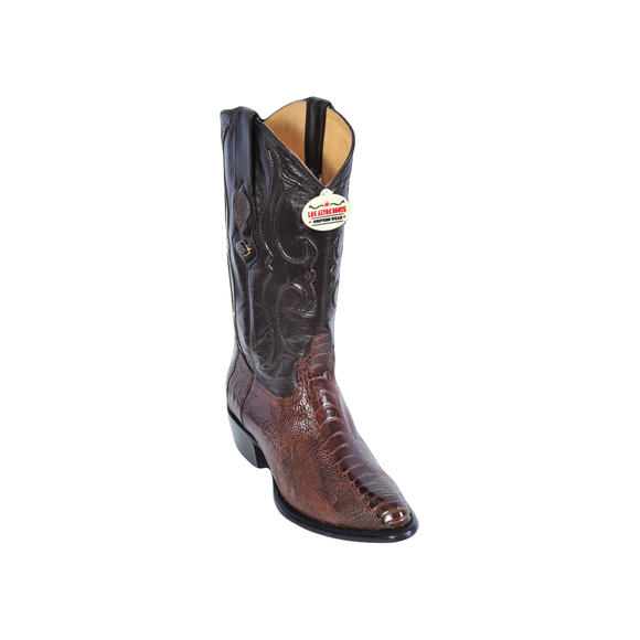Los Altos Ostrich Leg Grey Semi Oval Boots - Brown 600507