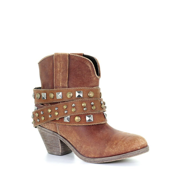 Women's Corral Cognac Studded Strap Ankle Boot Western Boots