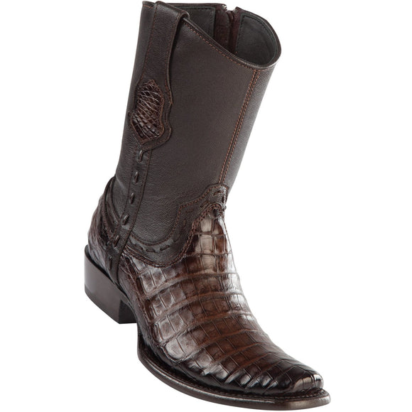 Wild-West-BootsMens-Caiman-Belly-Dubai-Toe-Short-Boot-Color-Faded-Brown