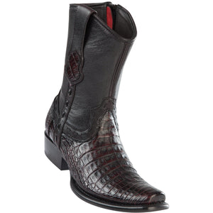 Wild-West-BootsMens-Caiman-Belly-Dubai-Toe-Short-Boot-Color-Black-Cherry