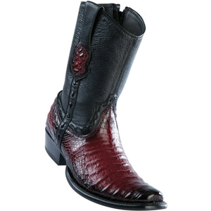 Wild-West-BootsMens-Caiman-Belly-Dubai-Toe-Short-Boot-Color-Faded-Burgundy