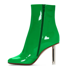 10cm Green Genuine Leather Ankle Boot