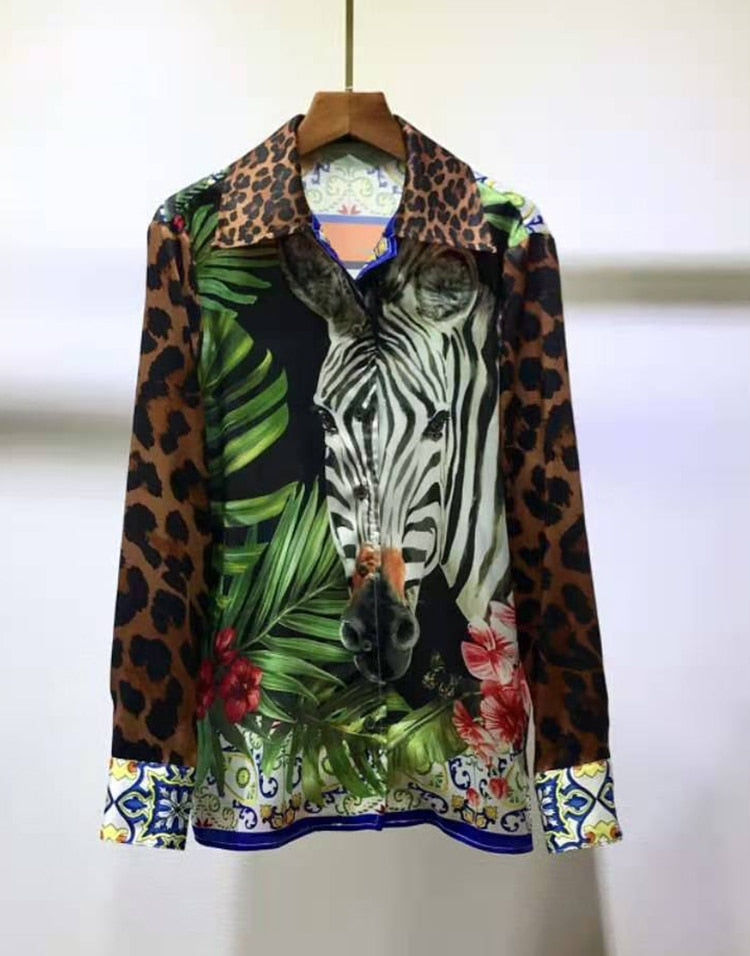 Luxury 100% TWILL SILK Leopard Animal Print Blouse