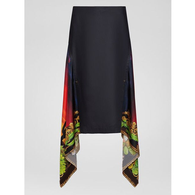 2020 Print Asymmetric Skirt