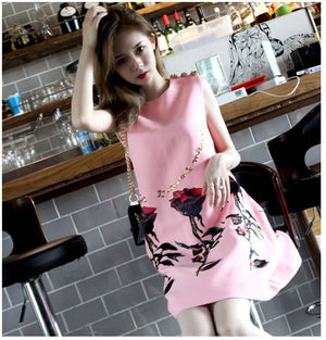 Runway Vintage pink Luxury Chrystal Button Rose Dress
