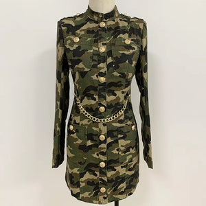 2020 Designer Military Stone Washed Cotton Dress