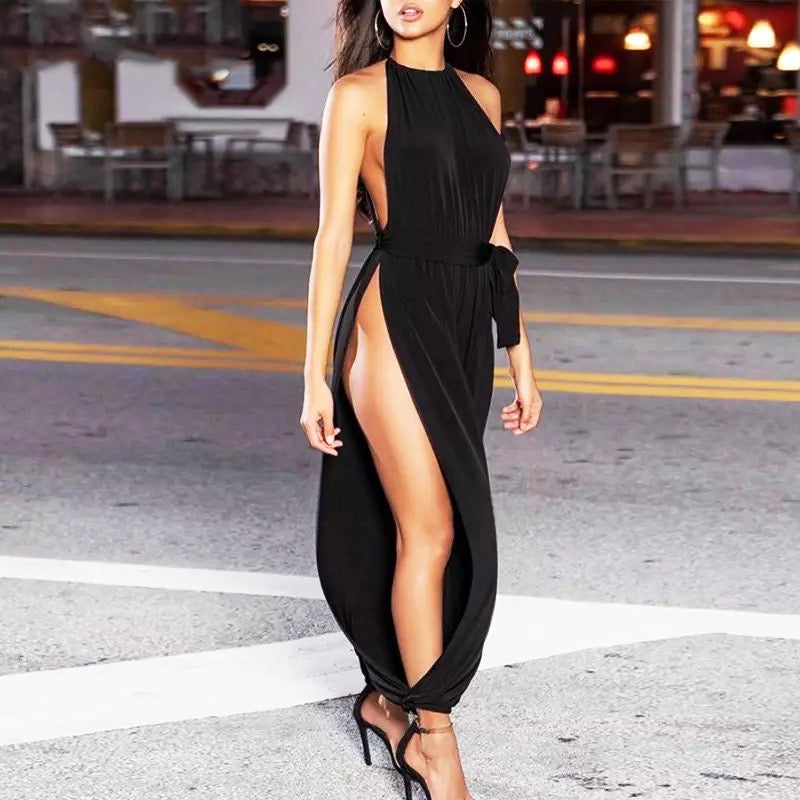 2020 Ruched Slit Jumpsuit