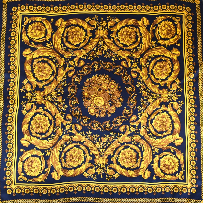 Luxury Classical Baroque Pattern 100% Silk Scarf 108*108cm