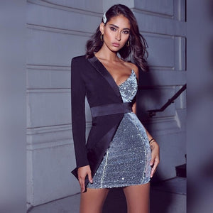 One Shoulder Silver Sequin Dress