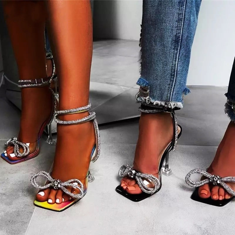 Rhinestone Bowknot PVC Jelly Transparent Square Toe Sandal