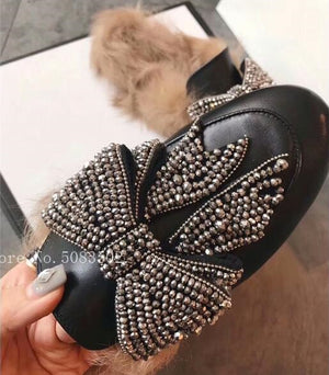 Bling Big Bow Fur Slipper