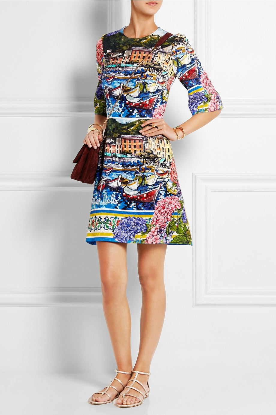 Vintage Plus Size Print Half Sleeve Dress