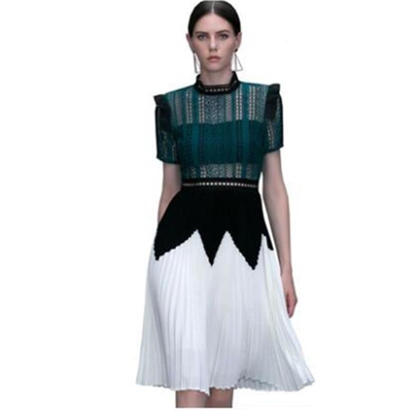 Self Portrait Runway Green Patchwork Pleated Hollow Out Dress