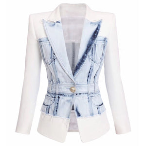 Stylish Designer Slim Lion Button Denim Blazer