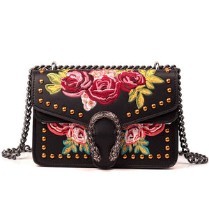 Luxury Crossbody Rivets Embroidery HandBag