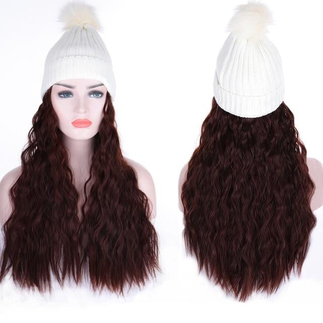 Long Wavy Elastic Knit Hat Wig