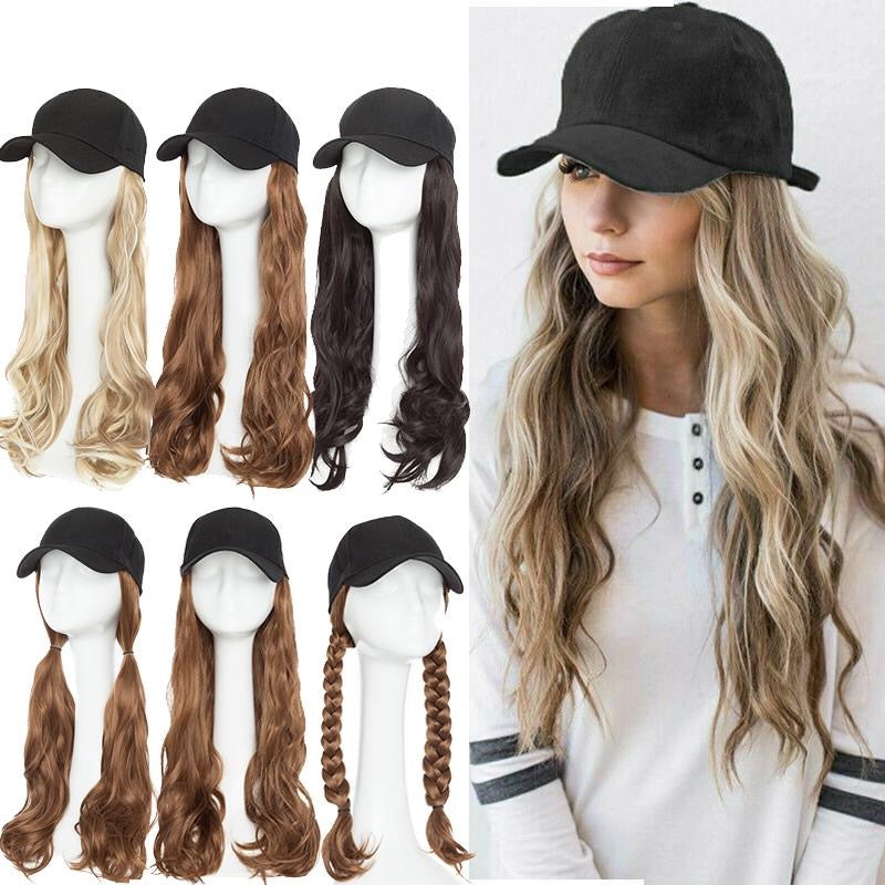 Synthetic Baseball Cap wavy Wig