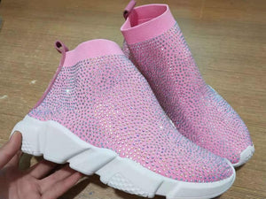 Crystal Sock Boots Knitted  Shoes