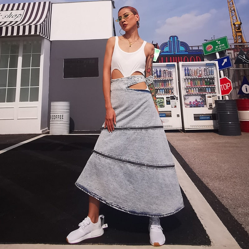 2020 Elegant Loose Denim Summer Skirt