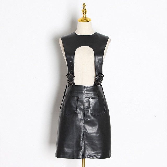 Sexy PU Leather High Waist Hollow Out Dress