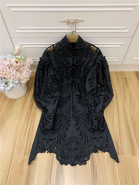 Spring Runway Designer Lantern Sleeves Embroidery Hollow Out Dress