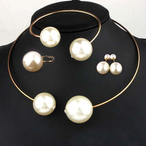 Pearl Rhinestone Necklace, Bangle, Earring, Ring