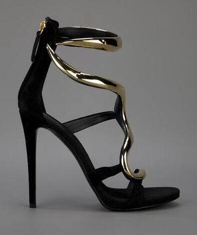 Metallic Golden Snake Design Sandal