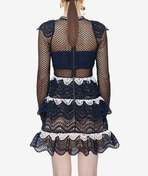Ruffle Patchwork Embroidery Lace Dress