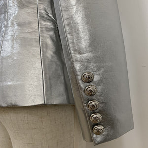 Baroque Designer Lion Metal Button Silver PU Leather Blazer