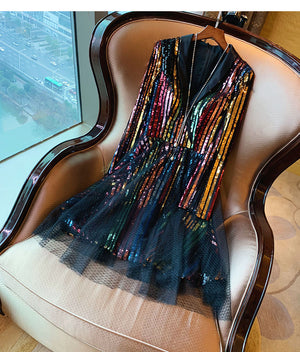 Rainbow Colorful Sequin Mesh Net Dress