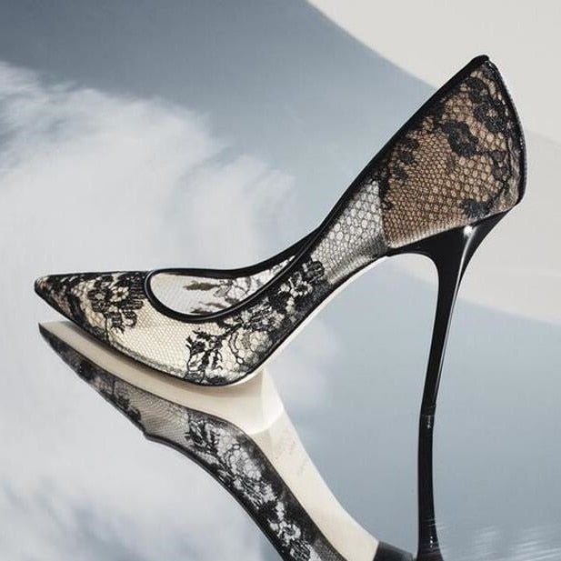 Black Lace Mesh Shoe