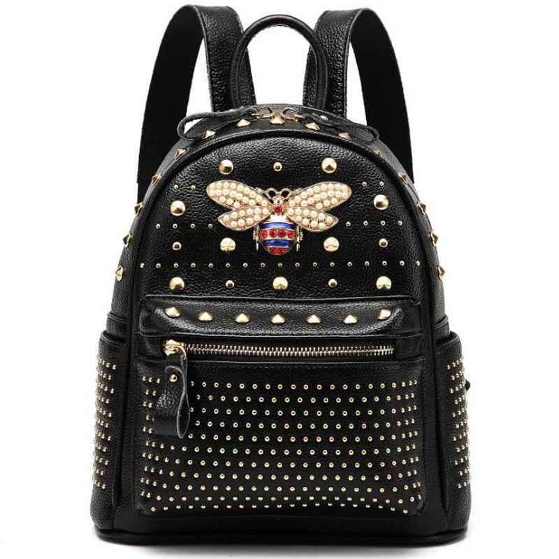 Diamond Bee Pearl Rivet Travel Backpack